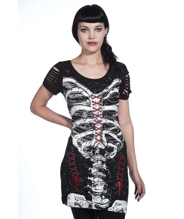 Top Camiseta Vestido Costillas Cortes