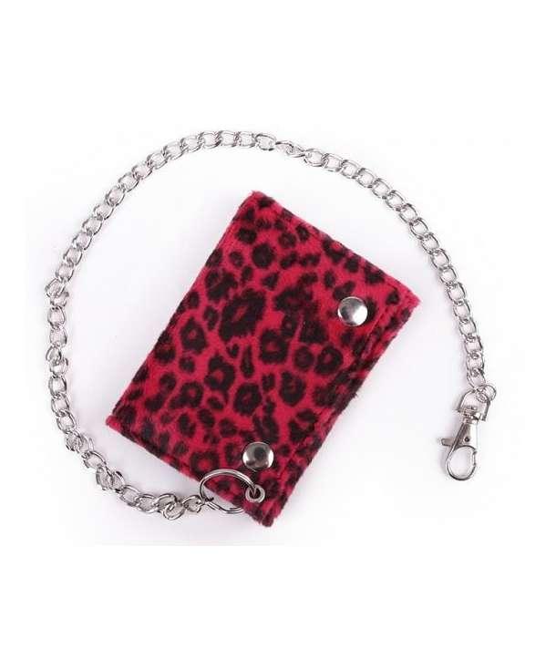 Cartera Leopardo Rojo con Cadena