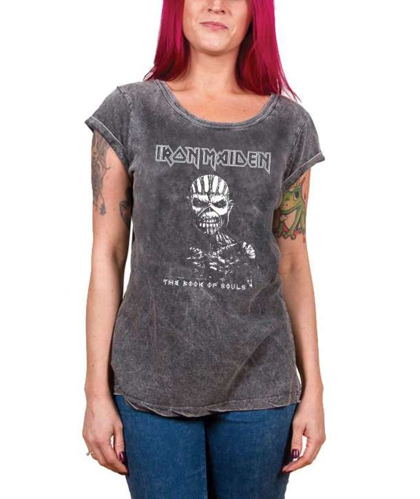 Camiseta para chica IRON MAIDEN - The Book Of Souls Gris
