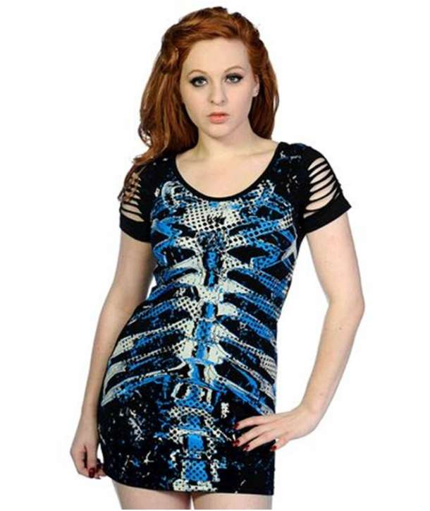 Top Camiseta Vestido Costillas Cortes Azul