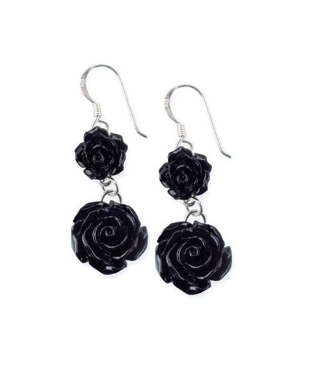 Pendientes Rosa Negra Plata (par)